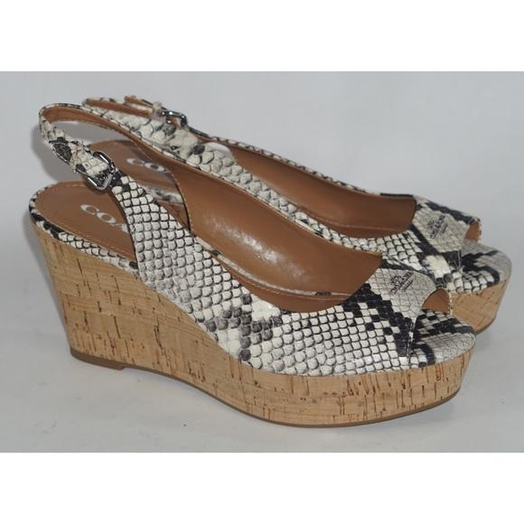 b0a696df509 Coach Snakeskin Wedge Platform Sandal Heels 8.5
